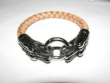 Genuine Leather, Stainless Steel Double Dragon Bracelet/Bangle