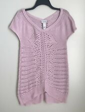 Soft Surroundings Large Pink V-Neck Open Knit Cap Sleeve Sweater Tunic