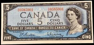 Canada $5 Dollars,1954,Beattie-Rasminsky X/S,AUNC