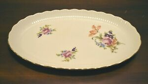 "porcelain platter German Democratic Republic 12 1/2"" flowers gold trim china"