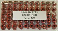 """150pcs Fly Tying 1//4/"""" Holographic RED 3d adhesive fish eyes 6mm"""