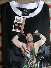 BRAND NEW OFFICAL WWE BLACK ROB VAN DAMM SIGNED T-SHIRT SIZE 16Y