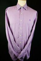 Ralph Lauren Polo Mens Purple white small check shirt long sleeve Size Small