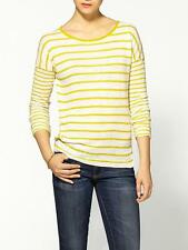 $195.00 NWT VINCE Mixed stripe linen sweater pullover top, sz S Yellow x white