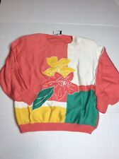 Vintage J.D. Boutique New York Womens Sz L Floral Embroidered Beaded 80s Sweater