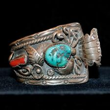 Old Pawn/Estate Navajo Sterling Silver, Turquoise & Red Coral Watch Cuff