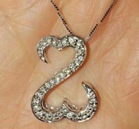 1.00 Ct Round Cut Diamond Open Heart Pendant Necklaces 14K White Gold Over