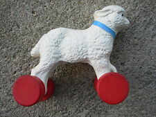 Vintage LAMB Pull-Toy composition wood wheels 1940's-50's EASTER