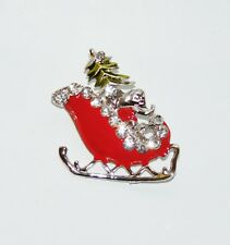 Santa Sleigh Christmas Pin/Brooch Silver Tone Crystal Red