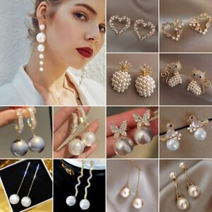 Charm Pearl Crystal Ear Stud Drop Dangle Earrings Women Wedding Jewelry Gift Hot