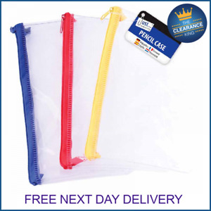 Clear Exam Pencil Case Coloured Zips - Pen Office Stationery