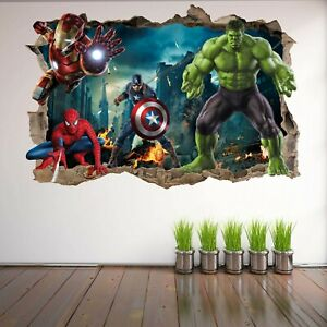 Avengers Superhero Wall Art Stickers Mural Decal Hulk Spiderman Iron Man EA73