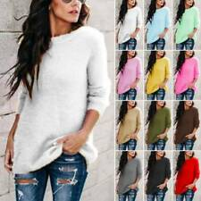 Womens Winter Fluffy Sweater Long Sleeve Fleece Pullover Tops Tunic Lose Blouse