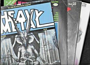 Heavy Metal Magazine April 1979 January June October 1980 Low Grade Lot of 4