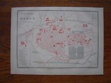 CARTE PLAN de la ville de NANCY  Gravure vers 1880