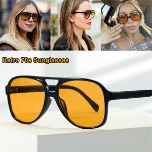 Fashion Vintage Retro Large Square Frame Aviator Glasses Men Women Sunglasses