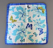 Blue Aqua scarf Satin silky square neck hair headband kerchief flower butterfly