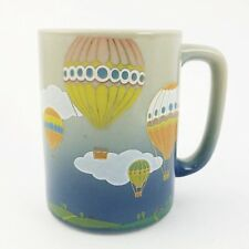 Vintage Otagiri Hot Air Balloon Coffee Cup Mug Tea Blue Gray Ceramic Stoneware