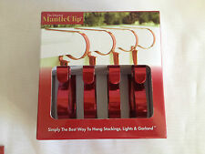 THE ORIGINAL MANTLE CLIP- METALIC RED - Set Of 4- CHRISTMAS STOCKING HOLDERS