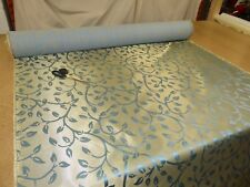 Job Lot - 10m of METALLIC GOLD & BLUE - Trailing Leaf Jacquard Upholstery Fabric