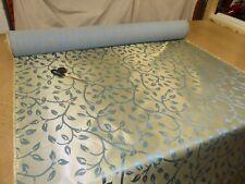Job Lot - 4m of METALLIC GOLD & BLUE - Trailing Leaf Jacquard Upholstery Fabric