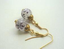 EARRINGS Purple FROSTED GLASS Flower Patterned Bead Gold Plated  KCJ2125