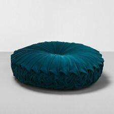 Opalhouse Velvet Pleated Round Decorative Throw Pillow Dark Teal NEW