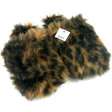 J Crew Womens Fuzzy Slippers Leopard Brown XS 5-6
