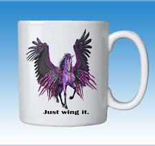 Mythical Magic Purple Unicorn Horse Pegasus Just Wing It Coffee Cup Mug Gift Box