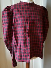 Victorian style red tartan check high neck blouse leg o' mutton sleeves top 18