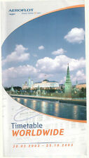 AEROFLOT WORLDWIDE TIMETABLE SUMMER 2003 SEAT MAPS IL96 IL86 A310 TU154 TU134