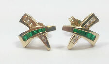 14 Carat Yellow Gold Emerald Stud Fine Earrings