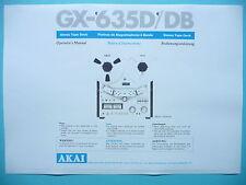 Opérateur 's manual-Manuel d'utilisation pour AKAI gx-635d/db