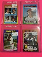 🔥 1975 Topps MINI Baseball Card - ROOKIE RC LOT X4 - FORSCH DECINCES LEFLORE 🔥