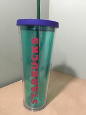 New Starbucks Aqua Cold Cup W/blue Lid 24 Oz