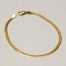 "18k Solid Yellow Gold Reversible Herringbone Bracelet 7"""