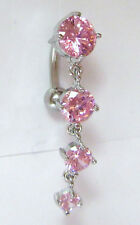 Surgical Steel VCH Hood Pink Gem Crystal Waterfall Clit Piercing 14 gauge 14g