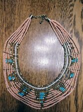 Authentic Native American Beaded Necklace pink turquoise Design Lg.w/Choker Neck