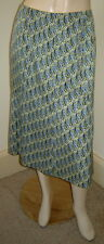 TALBOTS Periwinkle Blue/Olive Green Dot Stretch Silk Blend A-line Skirt (8P)