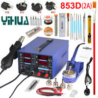 YIHUA 853D 2A Soldering Station  Rework Solder Iron+Hot Air Gun+11pcs Tool Kits
