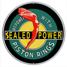 "Power Piston Rings 14"" Round Vintage Antique Style Metal Sign Sealed"