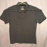 Men's Oakley Gray Black Striped Soft Cotton S/S Golf Polo Shirt Size Large EUC
