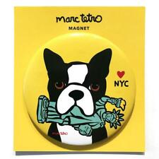 "*NWT* Marc Tetro Boston Terrier w/ Statue of Liberty NYC Yellow 3"" Round Magnet"