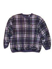 Vintage Bugle Boy XL Golf Wind Shirt Lined Crew Neck Plaid Pullover Jacket