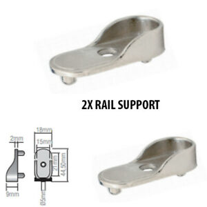 2 x Wardrobe Rail End Supports With Two Dowels to Fit Oval Rails Bracket