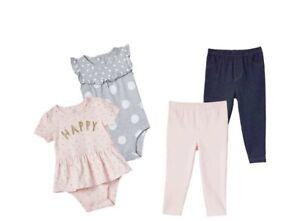 NWT Carter's Kids' 4-piece Set, bodysuits, leggings, Happy
