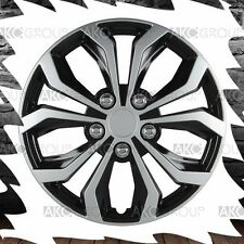 """4 x Spyder Performance Wheel Cover Black Silver Finish ABS Hubcap For 15"""" Wheel"""