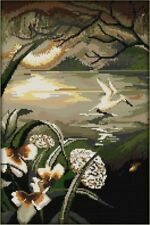 Moonlight Over the Lotus Pond. 14CT Counted Cross Stitch. Craft Brand New
