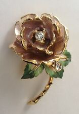 Diana's-ENGLAND'S ROSE-Rose/Green Enameled Brooch-Crystals-signed GRAZIANO Box