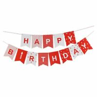 Happy birthday party paper red and white string banner banner Y7N7